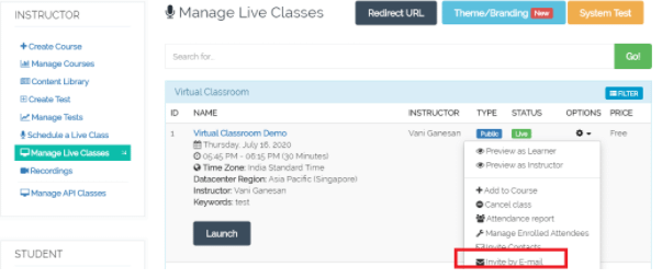 Manage your online classes